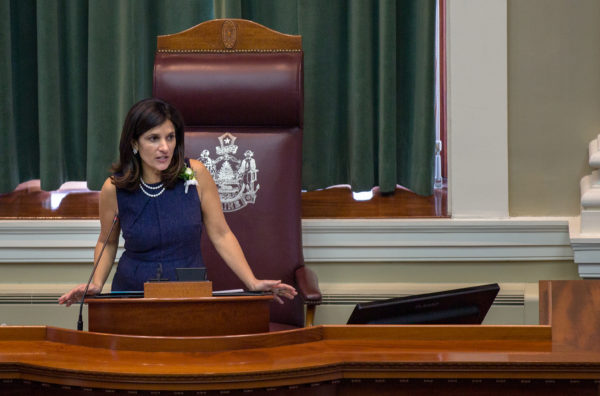 Maine Speaker of the House Sara Gideon, D-Freeport, speaks during the first session of the 128th Legislature at the State House in Augusta, Dec. 7, 2016.