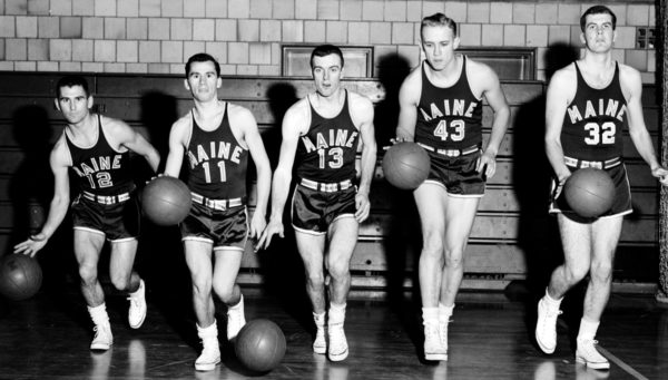 Former Ellsworth High School  standout Terry Spurling (second right) poses alongside other University of Maine players from eastern Maine including (from left): Willie Martin, Old Town; Ray Vachon, Brewer; Dick Sturgeon, Old Town; and Ronnie Boynton, Bangor, in 1957. Spurling was a member of the inaugural BDN All-Maine Schoolboy Basketball Team in 1956.