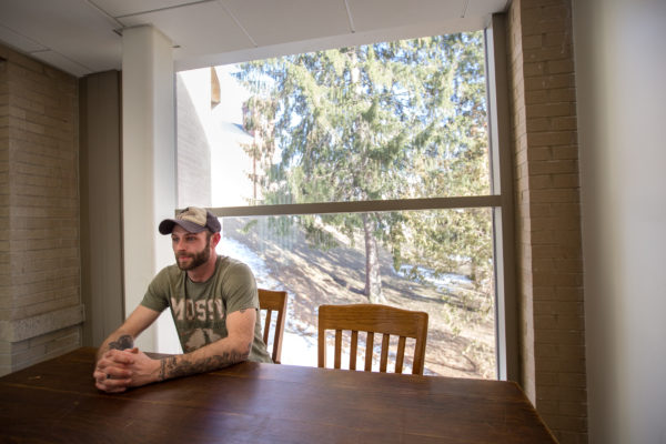 """Nick Hawes, who is 28 and lives in Bangor, has a job, but his friends aren't working or looking for work. """"Where's all the manufacturing jobs? Where's all the port shipping jobs? The mills closed — what's left?"""" he said."""
