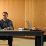 """Cuba Gooding, Jr. as O.J. Simpson, left, and Joseph Buttler as Polygraph Examiner in """"The People v. O.J. Simpson: American Crime Story."""""""