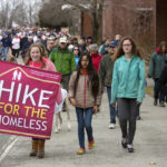 Participants make their way from Bangor High School to the Bangor Waterfront as part of the annual Hike for the Homeless Saturday.