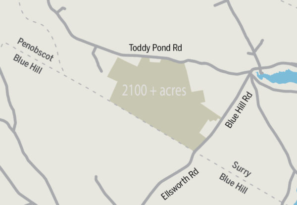 This map shows where the Surry Forest is located near the intersections of routes 176 and 172 near Surry village in Hancock County. Blue Hill Heritage Trust announced Monday that it has acquired the 2,114-acre property.