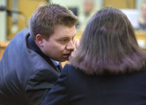 Frank Griffin (left), assistant district attorney for Kennebec County, chats with Kennebec County District Attorney Maeghan Maloney during the hearing on a motion to spare the life of Dakota the dog, who was pardoned by Gov. LePage, in Waterville District Court Tuesday. The motion was denied.