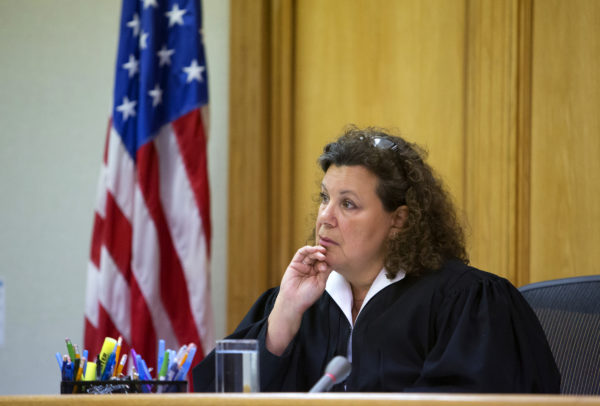 District Court Judge Valerie Stanfill listens to the defense during the hearing Tuesday on a motion to spare the life of Dakota the dog, who was pardoned by Gov. LePage, in Waterville District Court. Judge Stanfill denied the motion.