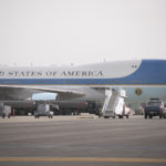 The aircraft at the Bangor International Airport.