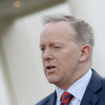 Press secretary Sean Spicer apologizes for his comments related to Hitler during a TV interview at the White House in Washington, D.C., on Tuesday.