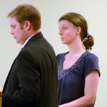 Elizabeth Ellis stands near her attorney, Aaron Frey of Bangor, during her sentencing at Penobscot Judicial Center on Tuesday. Nick Sambides Jr. | BDN