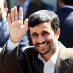 Iranian President Mahmoud Ahmadinejad waves as he arrives for Friday prayers at the 16th century Ottoman era Blue Mosque on his second day of his visit in Istanbul, Aug. 15, 2008.