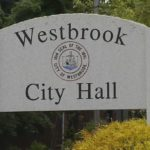 A sign outside Westbrook City Hall.