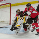 Ottawa goalie Craig Anderson (41) gives up goal by Boston's Frank Vatrano (not pictured) in the third period of game one of the first round of the 2017 Stanley Cup Playoffs at Canadian Tire Centre in Ottawa. The Bruins won 2-1. Marc DesRosiers | USA TODAY Sports