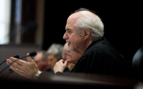 Justice Andrew Mead asks a question at the hearing regarding Maine's ranked-choice voting at the Capital Judicial Center in Augusta on Thursday.