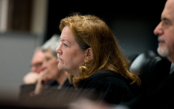 Chief Justice Leigh Saufley hears arguments on rank-choice voting Thursday morning at the Capital Judicial Center in Augusta.