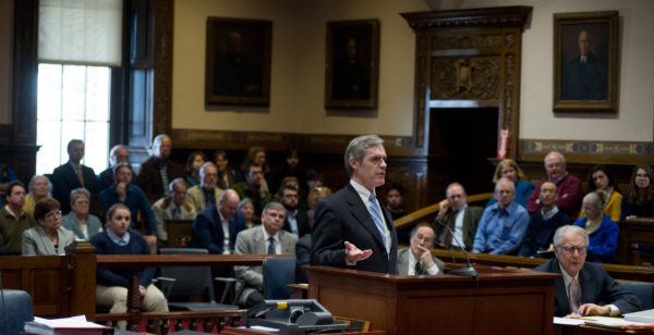 Timothy Woodcock, attorney for the Maine Senate, answers a question by Chief Justice Leigh Saufley on Thursday morning when justices on the Maine Supreme Court questioned lawyers on both sides of Maine's ranked-choice voting law.