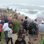 Visitors to Acadia National Park in Maine gather along the shore next to Thunder Hole on Sept. 6, 2016.