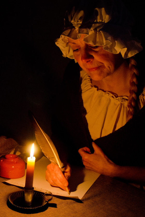 Jude Lamb portrays her ancestor Eunice Lakeman Hoar, who with her husband and nine children settled in the Rangeley Lake area in 1817.