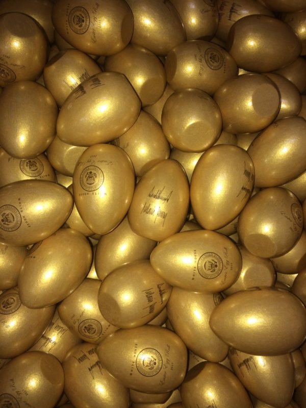 Golden wooden eggs created by Wells Wood Turning and Finishing in Buckfield. The eggs have been purchased by the White House for its annual Easter Egg Roll on Monday.