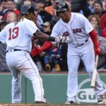 Boston's Hanley Ramirez (left) celebrates with teammate Marco Hernandez after scoring the go-ahead run during the eighth inning of Thursday's game against Pittsburgh at Fenway Park in Boston.