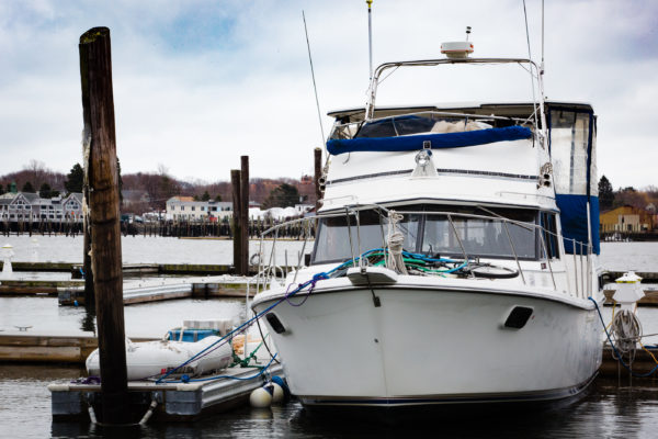 Nate Taylor and Krystin Noyes spent the winter on this 36-foot Carver aft-cabin trawler docked on Portland's waterfront.