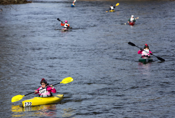 Kayakers make their way toward Bangor during the 51st annual Kenduskeag Stream Canoe Race on Saturday. The 16-mile race starts in Kenduskeag and ends in downtown Bangor.