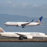 A United Airlines Boeing 787 taxis as a United Airlines Boeing 767 lands at San Francisco International Airport, San Francisco, California, U.S. on February 7, 2015.