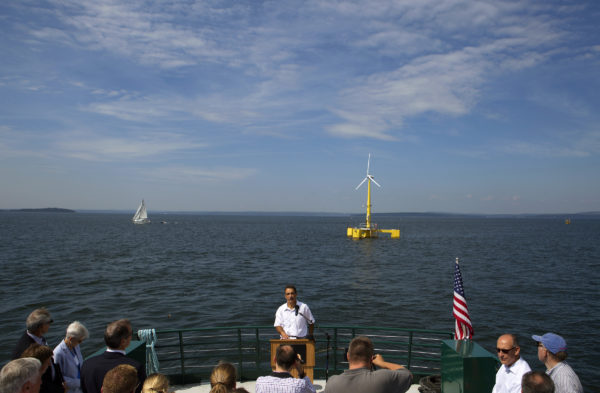 Habib Dagher, director of UMaine advanced structures and composites sector, speaks to the crowd during a trip to celebrate the first year of the University of Maine's floating wind turbine, VolturnUS.