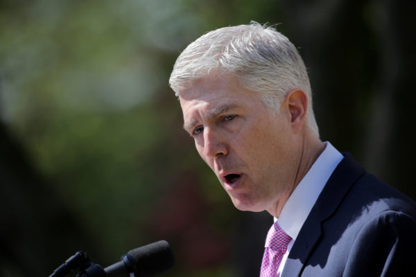 Judge Neil Gorsuch speaks after his swearing as an associate justice of the Supreme Court in the Rose Garden of the White House in Washington, U.S., April 10, 2017.