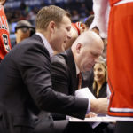 Mar 21, 2017; Toronto, Ontario, CAN;  Jim Boylen (second left), a former standout at the University of Maine, is now an assistant head coach under Fred Hoiberg  (left) with the NBA's Chicago Bulls. Boylen's ties to UMaine and the state have helped him enjoy a long, successful coaching career. John E. Sokolowski | USA TODAY Sports
