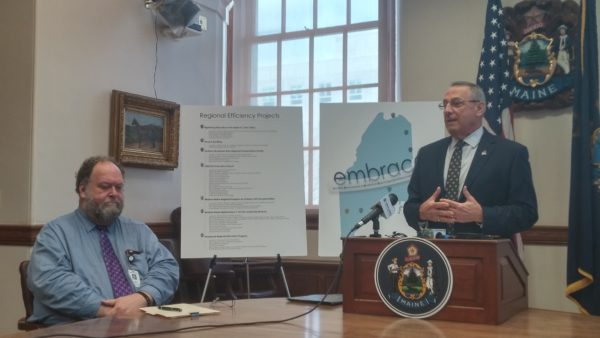 Gov. Paul LePage, right, discusses his education proposals during an April 18, 2017 press conference at the State House in Augusta while Maine Education Commissioner Robert Hasson looks on.