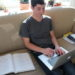 South Portland High School sophomore Max Saffer-Meng works on homework at his home in South Portland.