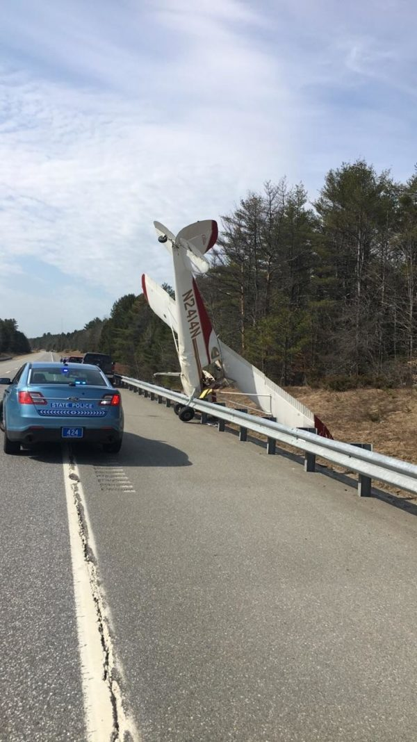 A plane crashed on the southbound lane of Interstate 295 in Bowdoinham and got caught on a guardrail.