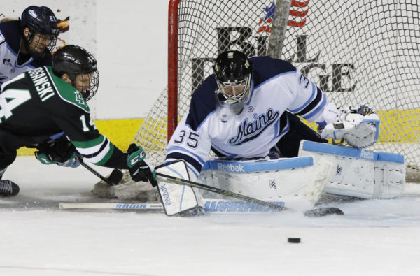 The University of Maine plays the University of North Dakota at the Cross Insurance Arena in Portland, Maine in 2015. The University of Maine has submitted a bid to make the venue a future site of the NCAA hockey regional tournament.