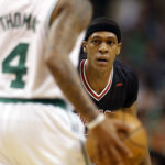 Boston's Isaiah Thomas (4) is guarded by Chicago's Rajon Rondo during the first quarter in game two of the first round of the 2017 NBA Playoffs at TD Garden in Boston on Tuesday night.