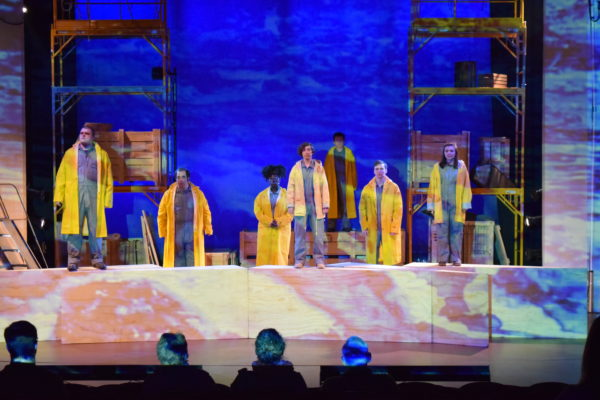 The cast of &quotMolded by the Flow&quot performs in an original, multimedia production inspired by southern Maine's natural and human history. The show is the result of a collaboration of USM's theater, art and music departments.