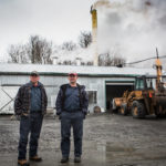 BIG SIX TOWNSHIP, MAINE -- 04/17/17 -- Alcide (left) and Benoit Giroux stand outside their sugar house in Big Six Township on Monday. They tap 80,000 trees each year but say they may have to close down if the landowner doesn't agree to a more fair contract. Troy R. Bennett | BDN