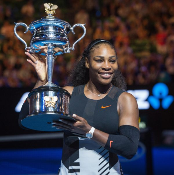The United States' Serena Williams celebrates after defeating her sister, Venus Williams, 6-4, 6-4, in the women's singles finals at the Australian Open in Melbourne, Australia, on Saturday, Jan. 28, 2017.