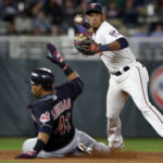 Minnesota Twins shortstop Jorge Polanco attempts to turn a double play in the sixth inning against the Cleveland Indians on Monday, April 17, 2017 at Target Field in Minneapolis, Minn.