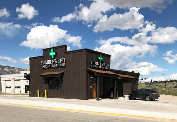 Tumbleweed Express Drive-Thru, the nation's first first drive-thru marijuana dispensary, is shown in Parachute, Colorado, April 19, 2017.