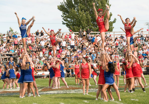 Cheerleaders perform a routine during the 27th Maine Lobster Bowl Classic held at Waterhouse Field in Biddeford in July 2016. The 2017 game has been moved to Thornton Academy in Saco because the bleachers at Waterhouse Field have been condemned.
