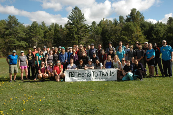 Students from outing clubs throughout Maine meet and pose for a photo at the 2016 Teens To Trails Spring Thing, a weekend-long camping event in western Maine for students to learn outdoor skills and network with other outing club students. Teens To Trails -- also known as T3 -- is a nonprofit organization that helps high school outing clubs throughout Maine through networking, training and grants.