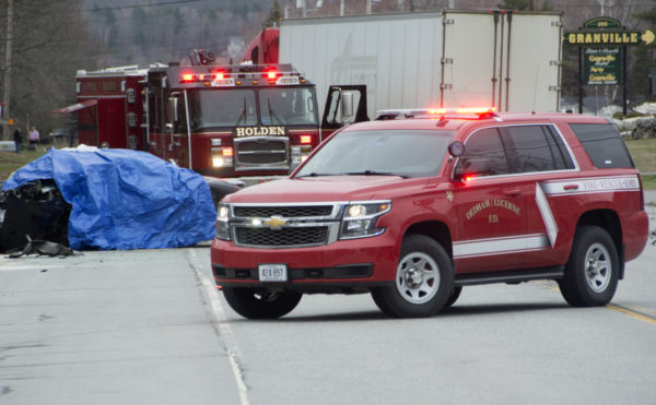 A car and a tractor trailer collided in an apparent fatal accident on Main Road in Holden on Thursday.