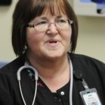 Alton resident Darlene Young was one employee who took advantage of federal retraining funds, which recently have been allocated to millworkers in Lincoln. Her training to become a certified medical assistant has paid off, she says she loves helping people at her new job at the Helen Hunt Health Center in Old Town.