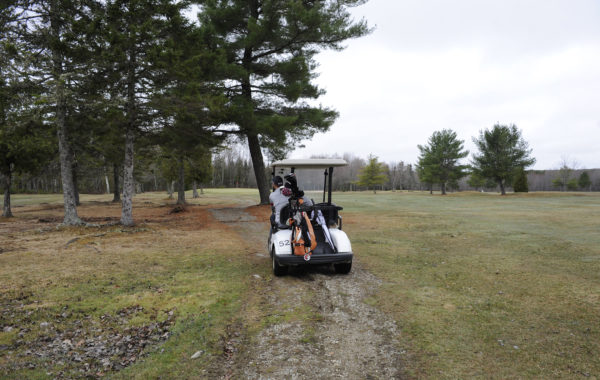 Despite the weather, Greg Taylor of Hampden spent Friday morning at Hermon Meadow Golf Course. Hermon Meadow opened on April 13th.