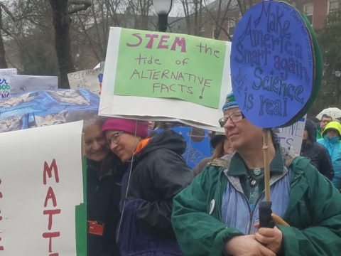 Hundreds turned out to Saturday's March for Science at the University of Maine as part of a global rally in opposition to President Donald Trump's questioning of climate change and deep cuts he is proposing for research.