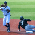 Jeremy Pena (left) of the University of Maine, pictured during a game in 2016, extended his hitting streak to nine games on Saturday, but the Black Bears dropped an America East doubleheader to Binghamton at Vestal, New York.