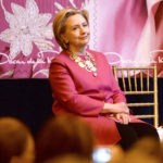 Former US Secretary of State and Democratic presidential nominee Hillary Clinton attends the unveiling ceremony for the U.S. Postal Service Oscar de la Renta Forever stamp, at Grand Central Terminal on Feb. 16, 2017 in New York, N.Y.