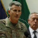 U.S. Army General John Nicholson, left, commander of U.S. Forces Afghanistan, and U.S. Defense Secretary James Mattis, hold a news conference at Resolute Support headquarters in Kabul, Afghanistan April 24, 2017.