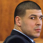 Former NFL player Aaron Hernandez looks at the gallery during the murder trial at the Bristol County Superior Court in Fall River, Massachusetts, in March 2015.
