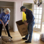 Gay (left) and Phil work to pack the last bit of items in their home in Stockton Springs on Saturday. The Dions have lived many years in the town of Stockton Springs, where they have been very active in municipal governance, fire department, ambulance crew, business owners, etc. Now, in their 60s, they're moving back to Rhode Island to be closer to their family.