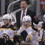 Boston Bruins head coach Bruce Cassidy reacts from the bench during a 2017 game at Toronto.  The Bruins removed the interim tag from Cassidy's title and appointed him as the head coach on Wednesday.