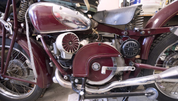 A 1949 Moto Guzzi at Chuck Sim's Winterport shop.  Sim rebuilds antique motorcycles and specializes in Moto Guzzi bikes, but has worked on many antique cars and bikes over the years.